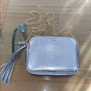 NWOT Silver Snakeskin Bag